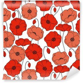 color vector simple illustration of decorative poppy flower pattern on white background Vinyl Custom-made Wallpaper