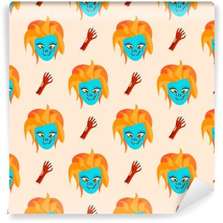 Colorful zombie scary cartoon character seamless pattern magic people body part cartoon fun monster vector illustration Vinyl Custom-made Wallpaper