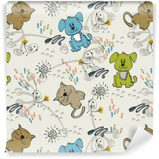 Cute hand draw seamless pattern for kids. Vinyl Custom-made Wallpaper