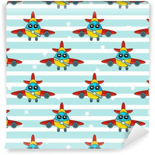 Cute kids pattern for girls and boys. Colorful aircraft on the abstract bright background create a fun cartoon drawing.The background is made in blue colors.Urban backdrop for textile and fabric Vinyl custom-made wallpaper