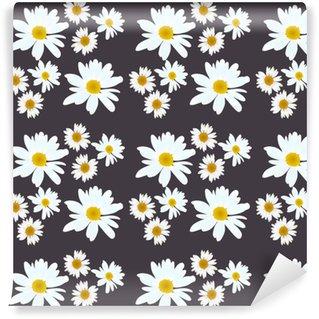 Daisy vector pattern. Beautiful flowers on black background. Vinyl Custom-made Wallpaper
