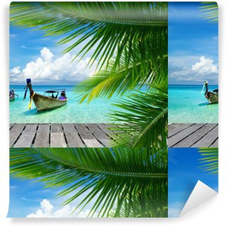 Deck with a view of a tropical sea Vinyl custom-made wallpaper
