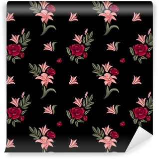 Embroidered flowers. Lilies and roses. Seamless pattern. Vector floral print. Vinyl custom-made wallpaper