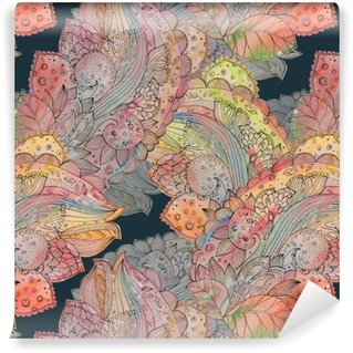 fashion seamless texture with abstract floral pattern. watercolo Vinyl Wallpaper