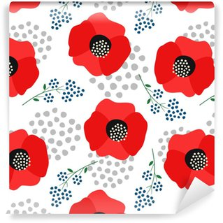 Floral pattern on white background. Cute red poppies with decorative dots seamless background. Fashion design for fabric, wallpaper, textile and decor. Vinyl custom-made wallpaper