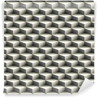 Geometric seamless pattern made of stacked cubes Vinyl custom-made wallpaper