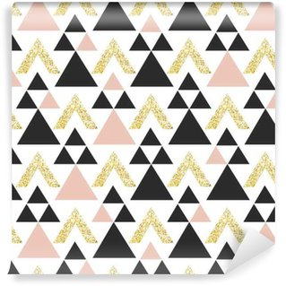 Gold geometric triangle background. Abstract seamless pattern with triangles in gold and dark gray. Vinyl Wallpaper