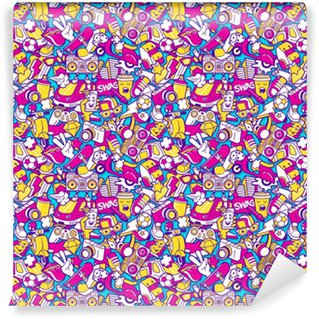 Graffiti seamless pattern with line icons collage Vinyl Custom-made Wallpaper