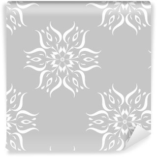 Gray and white floral ornament. Seamless pattern Vinyl custom-made wallpaper