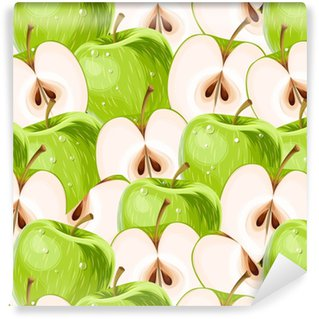 Green apples and apple slices seamless Vinyl custom-made wallpaper