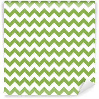 Green spring chevron seamless pattern background, illustration. Trendy color 2017, wrapping paper design Vinyl Custom-made Wallpaper