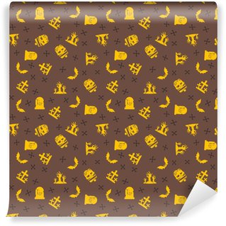 Halloween background. Seamless pattern design. Yellow and brown color theme. Vector illustration Vinyl custom-made wallpaper