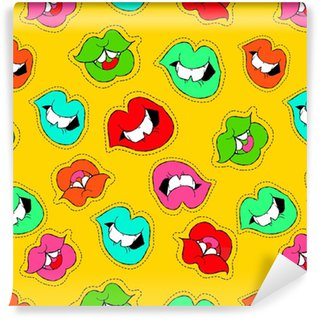 Hand drawn girl mouth patch icon seamless pattern Vinyl Custom-made Wallpaper
