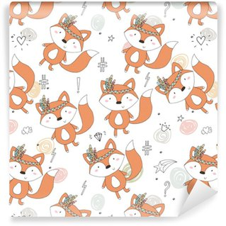 Hand drawn vector Cute seamless pattern with Cute Fox Vinyl Custom-made Wallpaper