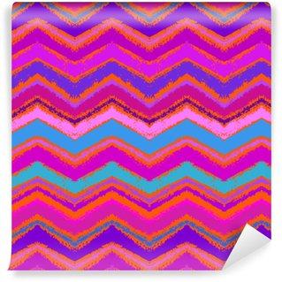 Hand drawn zigzag pattern in bright pink. Vinyl Custom-made Wallpaper
