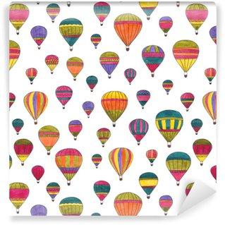 Hot air balloons watercolor hand drawn seamless pattern Vinyl custom-made wallpaper