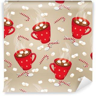 Hot chocolate seamless pattern Vinyl custom-made wallpaper