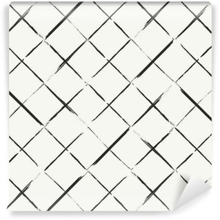 Modern hand drawn grungy diagonal tiles background - monochrome Vinyl custom-made wallpaper