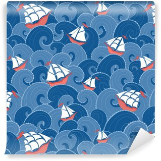 Nautical background. Sea ships and waves seamless pattern. Vinyl Custom-made Wallpaper
