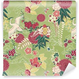 Oriental silk pattern Vinyl Wallpaper