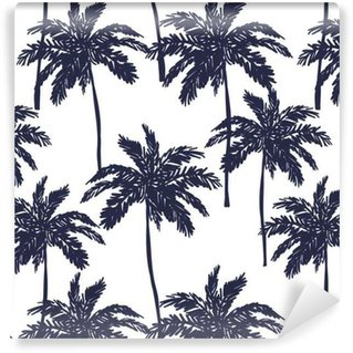 Palm trees silhouette on the white background. Vector seamless pattern with tropical plants. Vinyl Custom-made Wallpaper