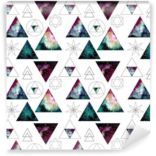 Pattern with Watercolor Nebula in Triangles and Sacred Geometry Vinyl Custom-made Wallpaper
