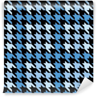 Plaid Houndstooth in Blue Vinyl Custom-made Wallpaper