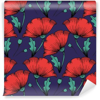 Red poppies. Hand drawing. Seamless colorful pattern on a dark background Vinyl custom-made wallpaper