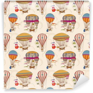 Retro air hot balloons seamless childrens vector background Vinyl Custom-made Wallpaper