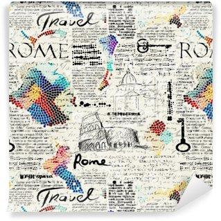 Rome newspaper background Vinyl custom-made wallpaper