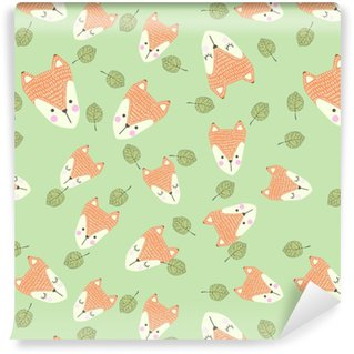 Scandinavian seamless pattern with foxes and leaves. Finnish design, Nordic style Vinyl Custom-made Wallpaper