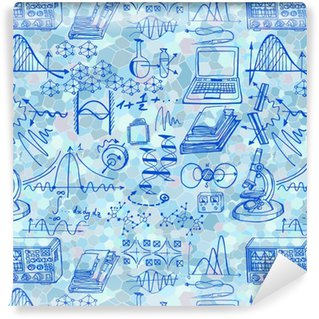 Science seamless pattern with sketch elements. Vector background with decorative formulas and graphs. Hand drawn. Vinyl custom-made wallpaper