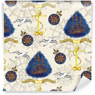 Sea seamless background with blue ship, gull and anchor Vinyl custom-made wallpaper