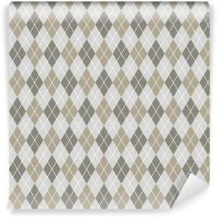 Seamless argyle pattern background. Grey and white pattern. Vinyl Custom-made Wallpaper