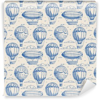 seamless background with balloons and airships Vinyl Custom-made Wallpaper