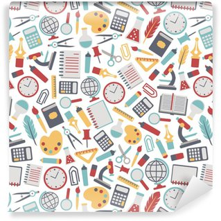 seamless background with colorful school icons. isolated on white Vinyl Custom-made Wallpaper