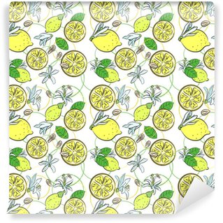 Seamless background with lemons Vinyl custom-made wallpaper