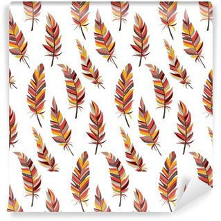 Seamless background with vintage feathers. Boho style. Pattern. Vinyl Custom-made Wallpaper