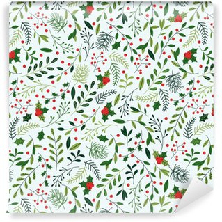 Seamless Christmas Pattern with Mistletoe, Spruce Branches, Green Leaves and Berries. Vinyl custom-made wallpaper