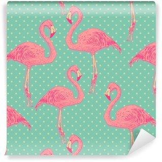 seamless flamingo bird pattern. hand drawn vector Vinyl custom-made wallpaper