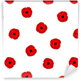Seamless floral pattern red stylization Poppies flowers on white background, vector, eps 10 Vinyl custom-made wallpaper