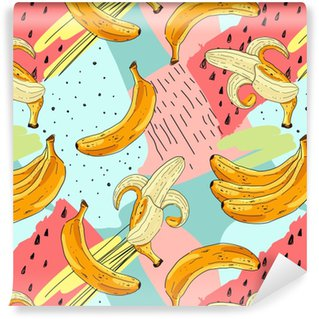 Seamless fruit pattern with banana. Hand drawn vector illustration in sketch style. Vinyl Custom-made Wallpaper