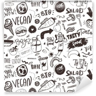 Seamless modern vegan pattern with healty food. Sketch hand drawn items. Hipster style. Vinyl Custom-made Wallpaper