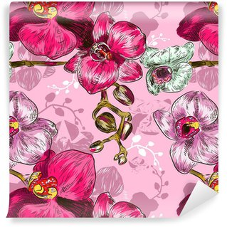 Seamless orchid Pattern Vinyl Custom-made Wallpaper