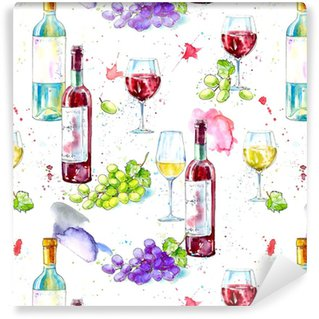 Seamless pattern of a bottle of white and red wine,grape and glasses.Picture of a alcoholic drink.Watercolor hand drawn illustration.White background. Vinyl Custom-made Wallpaper