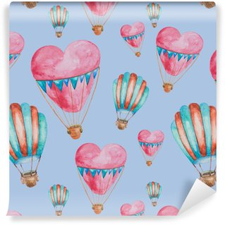 Seamless pattern of balloons in the shape of heart with baskets painted in watercolor Vinyl Custom-made Wallpaper
