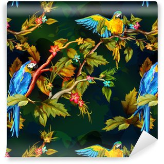 Seamless pattern of parrots on the tropical branches with flowers and leaves. Hand drawn. Vector - stock. Vinyl custom-made wallpaper