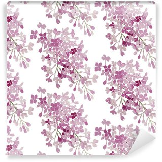 Seamless pattern. Pink flowers lilac. Vector background banner. Vinyl custom-made wallpaper