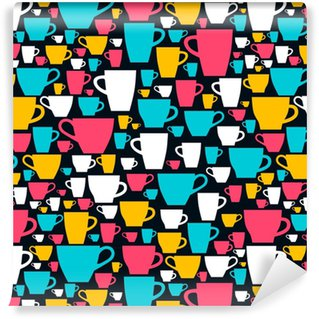 Seamless pattern with colored coffee cups. Vector illustration. Vinyl custom-made wallpaper