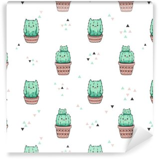 Seamless pattern with cute cactus cat. Vector background. Vinyl custom-made wallpaper